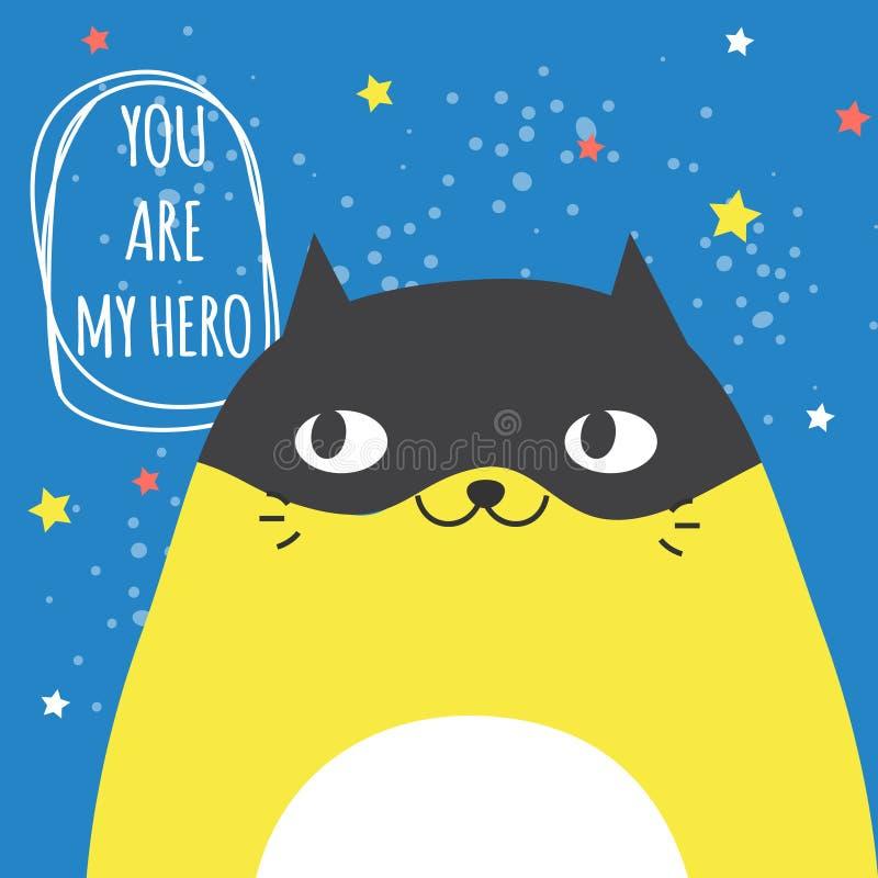 Αστεία γάτα Doodle στη μάσκα και και την τυπογραφία superhero θα είμαι ο ήρωας σας Σύγχρονη καλλιτεχνική απεικόνιση με το χαρακτή απεικόνιση αποθεμάτων