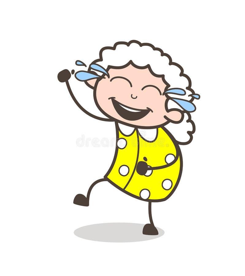 Αστεία γιαγιά κινούμενων σχεδίων που γελά με τη χαρά της διανυσματικής απεικόνισης δακρυ'ων ελεύθερη απεικόνιση δικαιώματος