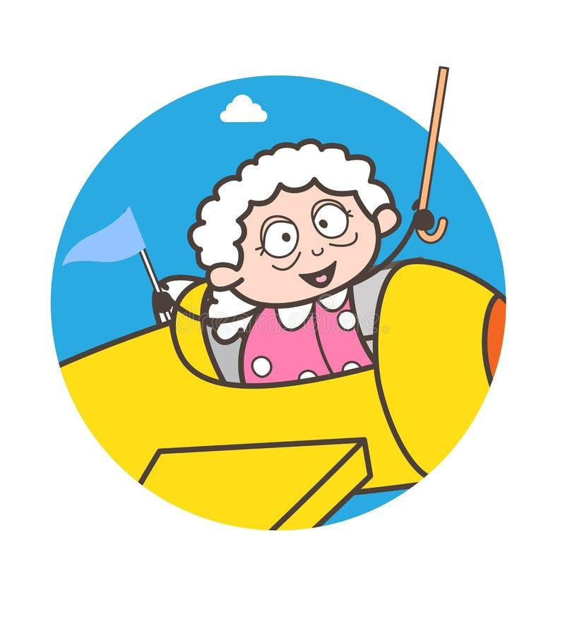 Αστεία γιαγιά κινούμενων σχεδίων στη διανυσματική απεικόνιση αεροπλάνων απεικόνιση αποθεμάτων