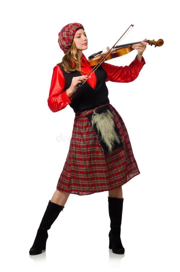 Download Αστεία γυναίκα στο σκωτσέζικο ιματισμό με το βιολί Στοκ Εικόνες - εικόνα από γενιά, εκτέλεση: 62708096