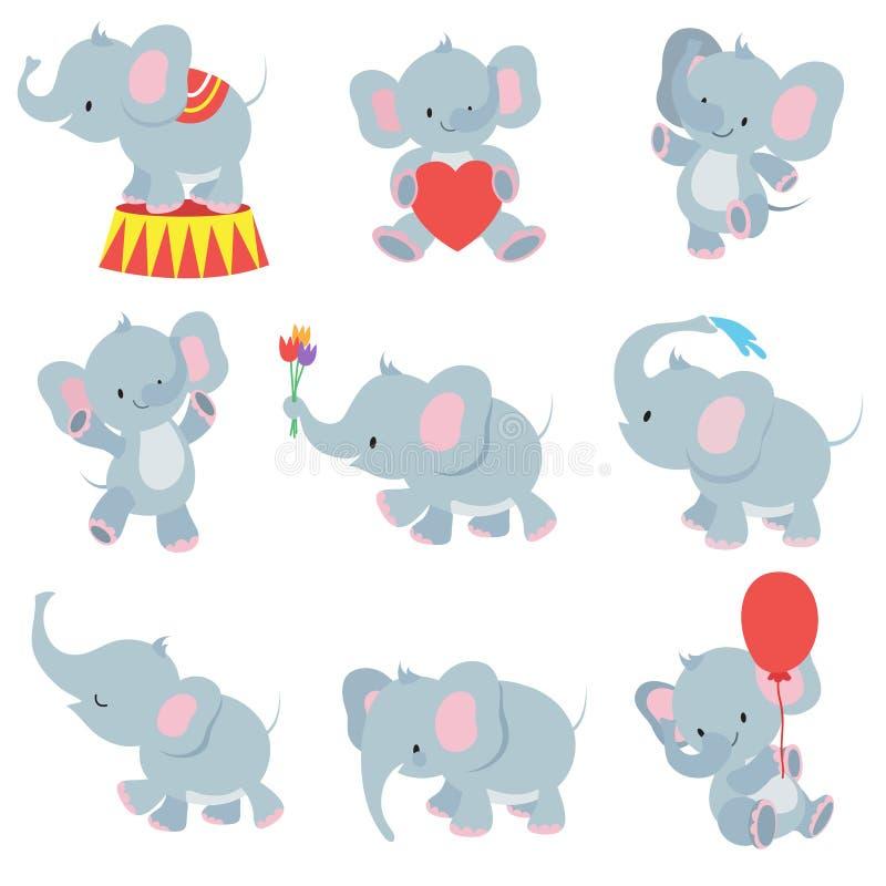 Αστεία διανυσματική συλλογή ελεφάντων μωρών κινούμενων σχεδίων για τις αυτοκόλλητες ετικέττες παιδιών διανυσματική απεικόνιση