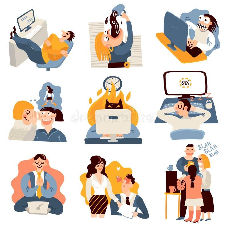 Αστεία εικονίδια εργασίας γραφείων καθορισμένα διανυσματική απεικόνιση