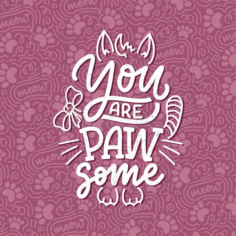 Αστεία εισαγωγικά με γράμματα για γάτες για εκτύπωση σε στυλ σχεδίασης με το χέρι Σχεδίαση σλόγκαν δημιουργικής τυπογραφίας για α στοκ φωτογραφία με δικαίωμα ελεύθερης χρήσης