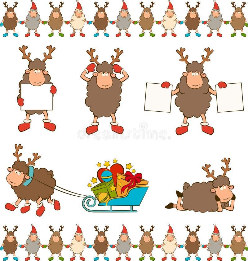 Αστεία ελάφια Χριστουγέννων. ελεύθερη απεικόνιση δικαιώματος