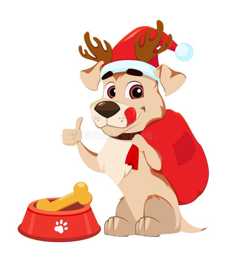 Αστεία ελαφόκερες σκυλιών που φορούν το καπέλο Άγιου Βασίλη και ελαφιών που κάθονται πλησίον ελεύθερη απεικόνιση δικαιώματος