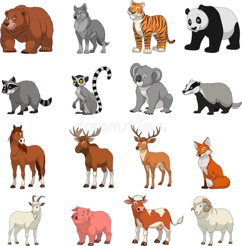 Αστεία εξωτικά ζώα διανυσματική απεικόνιση
