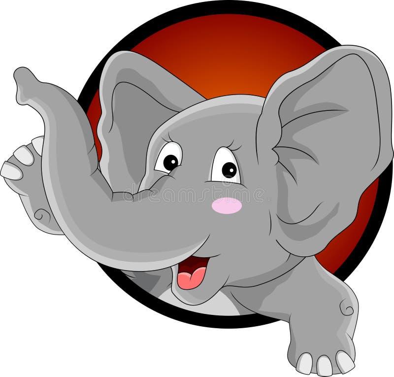 Αστεία επικεφαλής κινούμενα σχέδια ελεφάντων απεικόνιση αποθεμάτων