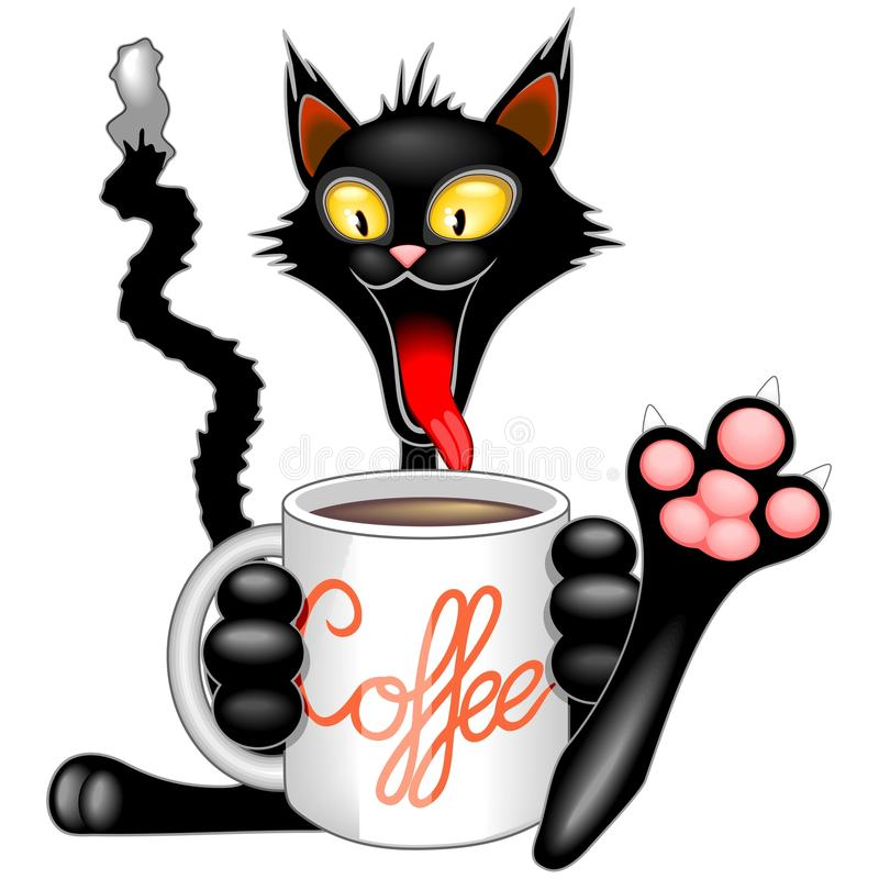 Αστεία ευτυχής γάτα με τη μεγάλη κούπα καφέ απεικόνιση αποθεμάτων