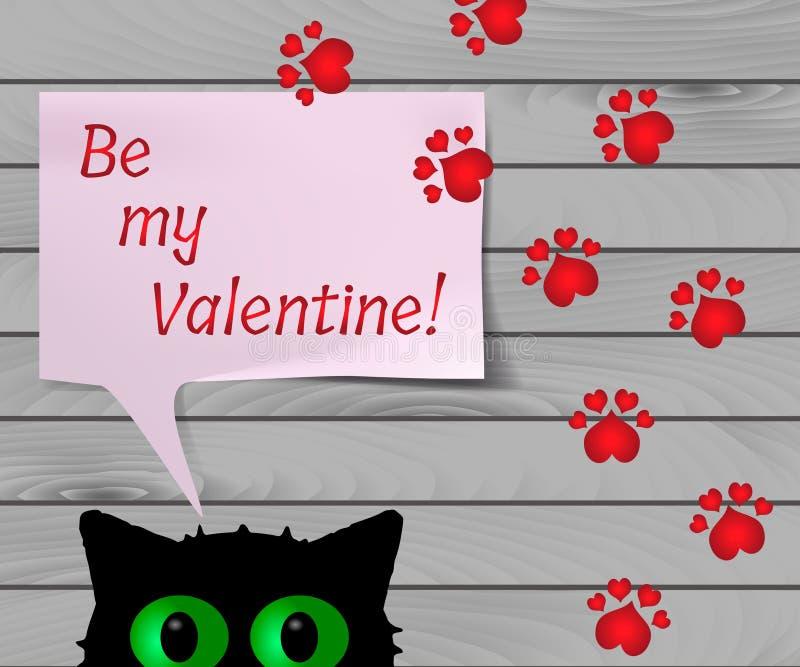 Αστεία ευχετήρια κάρτα για την ημέρα βαλεντίνων ` s, διανυσματικό έμβλημα με τη μαύρη γάτα και κόκκινες τυπωμένες ύλες ποδιών διανυσματική απεικόνιση