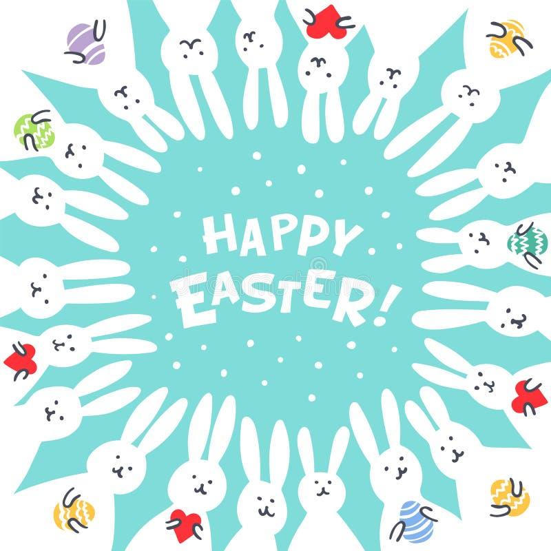 Αστεία ευχετήρια κάρτα Πάσχας λαγουδάκι με τα άσπρα κουνέλια Πάσχας Απεικόνιση των χαριτωμένων λαγουδάκι με τα αυγά και τις καρδι διανυσματική απεικόνιση