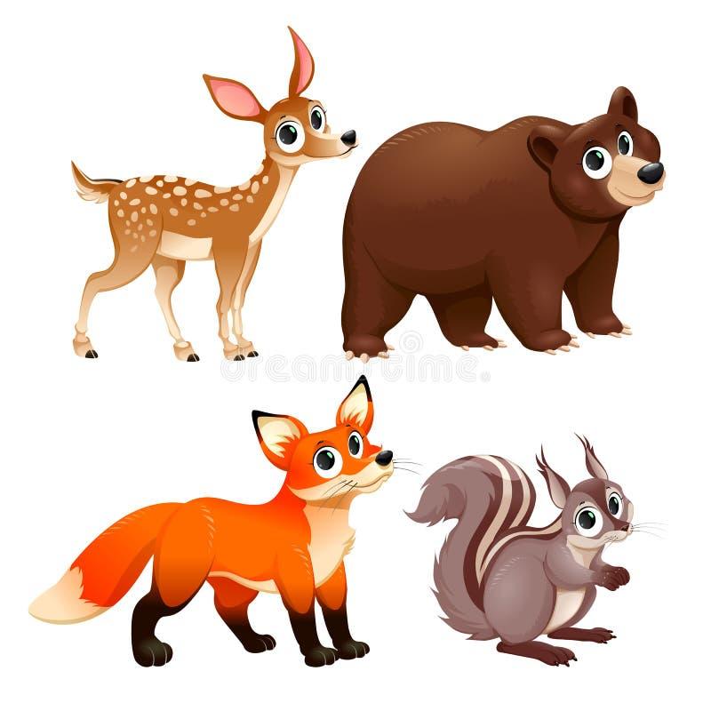 Αστεία ζώα του ξύλου διανυσματική απεικόνιση