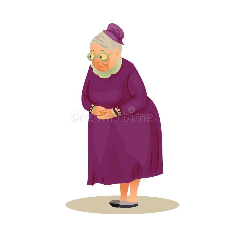 Αστεία ηλικιωμένη κυρία με τα γυαλιά Γιαγιά που στέκεται με το folde απεικόνιση αποθεμάτων
