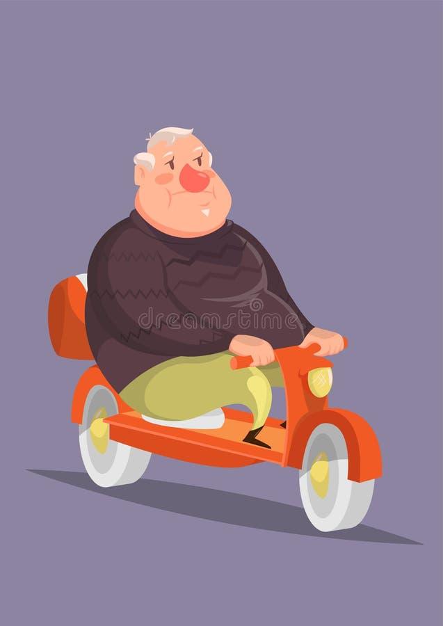 Αστεία διανυσματική απεικόνιση με έναν παχουλό ηληκιωμένο στη μοτοσικλέτα στοκ εικόνες με δικαίωμα ελεύθερης χρήσης