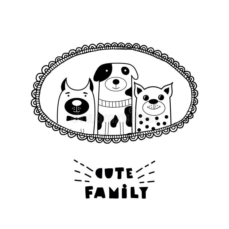 Αστεία κάρτα με τα χαριτωμένα πρόσωπα γατών και τη γράφοντας χαριτωμένη οικογένεια! διανυσματική απεικόνιση