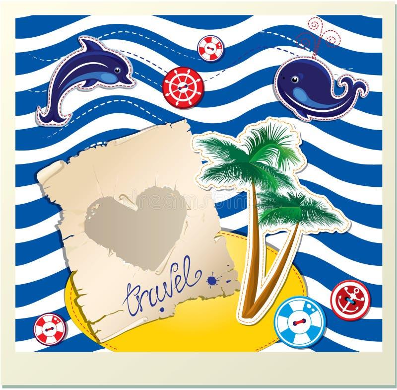 Αστεία κάρτα με το δελφίνι, φάλαινα, νησί με τους φοίνικες  διανυσματική απεικόνιση