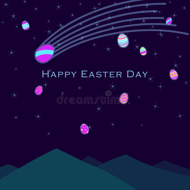 Αστεία και ζωηρόχρωμη ευτυχής ευχετήρια κάρτα Πάσχας με την απεικόνιση των αυγών, και κείμενο διανυσματική απεικόνιση