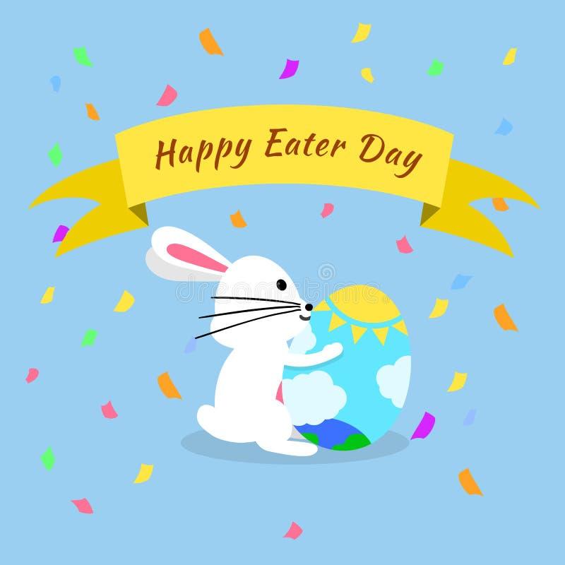 Αστεία και ζωηρόχρωμη ευτυχής ευχετήρια κάρτα Πάσχας με το κουνέλι, την απεικόνιση λαγουδάκι, τα αυγά, το έμβλημα, τη σημαία και  ελεύθερη απεικόνιση δικαιώματος