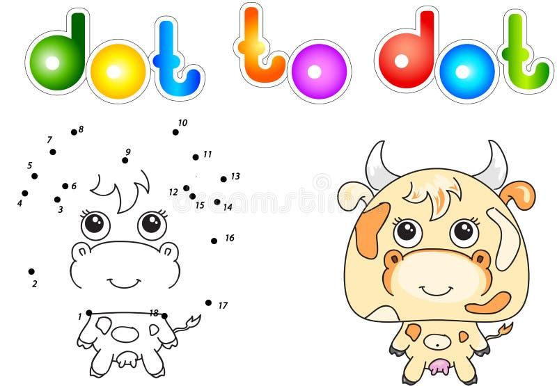 Αστεία και χαριτωμένη αγελάδα διανυσματική απεικόνιση