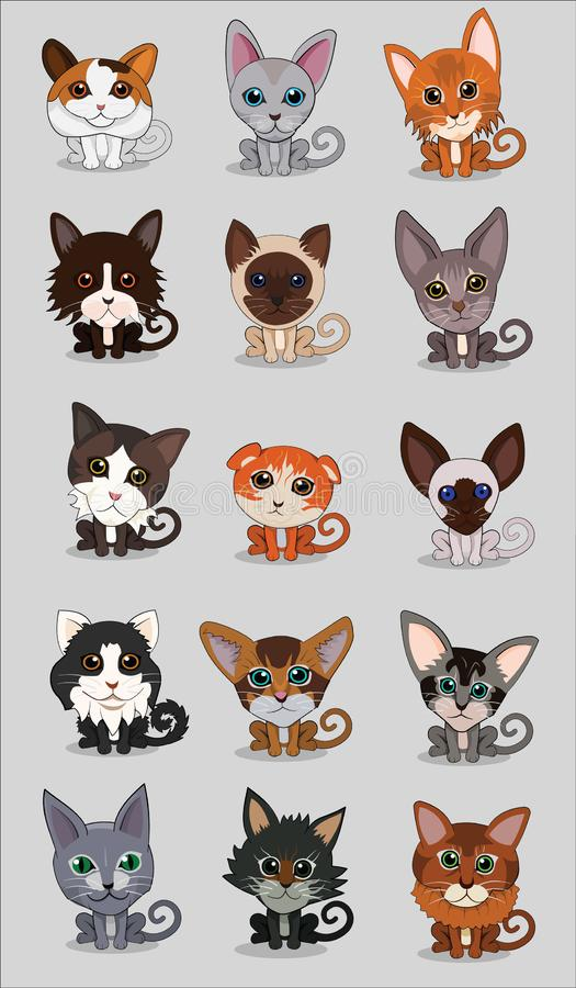 Αστεία και χαριτωμένη γάτα κινούμενων σχεδίων ελεύθερη απεικόνιση δικαιώματος