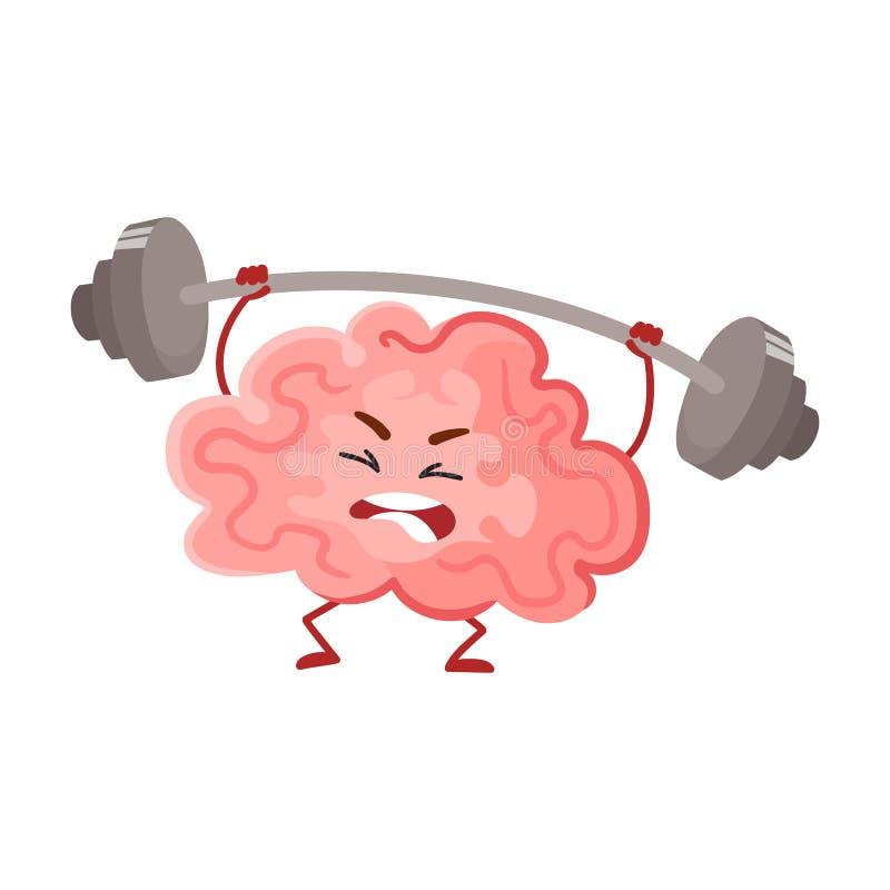 Αστεία κατάρτιση εγκεφάλου συγκέντρωσης με ένα barbell διανυσματική απεικόνιση