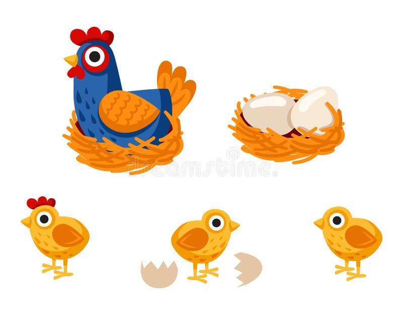 Αστεία κινούμενα σχέδια κοτών με το κοτόπουλο μωρών της, κότα μητέρων, αυγά ελεύθερη απεικόνιση δικαιώματος