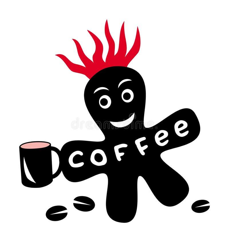 Αστεία κινούμενα σχέδια λίγος λεκές με τα κόκκινα φλογερά και σιτάρια κορωνών και καφέ φλυτζανιών διανυσματική απεικόνιση