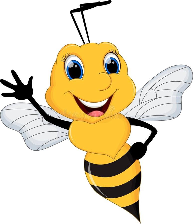 Αστεία κινούμενα σχέδια μελισσών που κυματίζουν με το bacground ελεύθερη απεικόνιση δικαιώματος