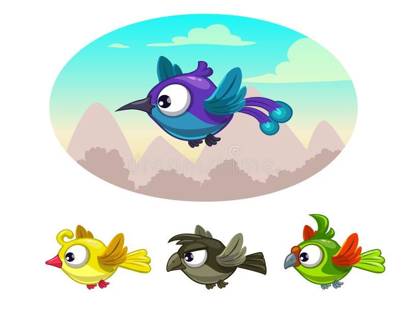 Αστεία κινούμενα σχέδια που πετούν τα διαφορετικά πουλιά απεικόνιση αποθεμάτων