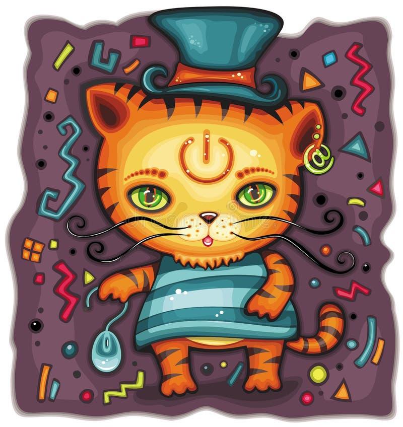 αστεία κορυφή τιγρών καπέλ διανυσματική απεικόνιση