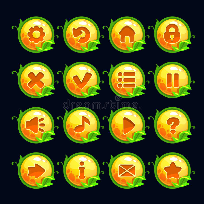 Αστεία κουμπιά επιλογών κινούμενων σχεδίων κίτρινα στρογγυλά διανυσματική απεικόνιση