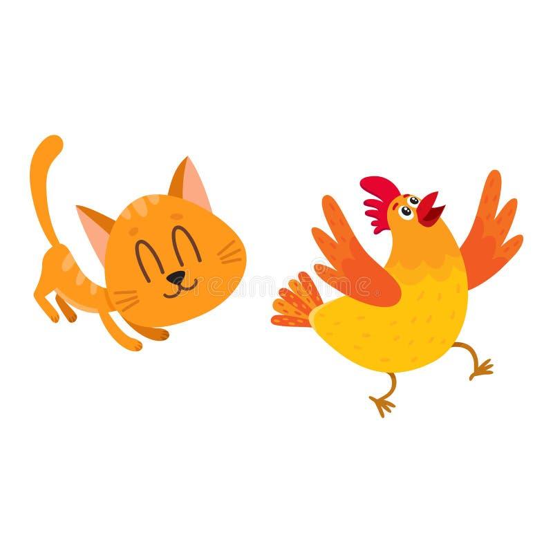 Αστεία κόκκινη γάτα, χάραξη χαρακτήρα γατακιών, που παίζει με το κοτόπουλο ελεύθερη απεικόνιση δικαιώματος