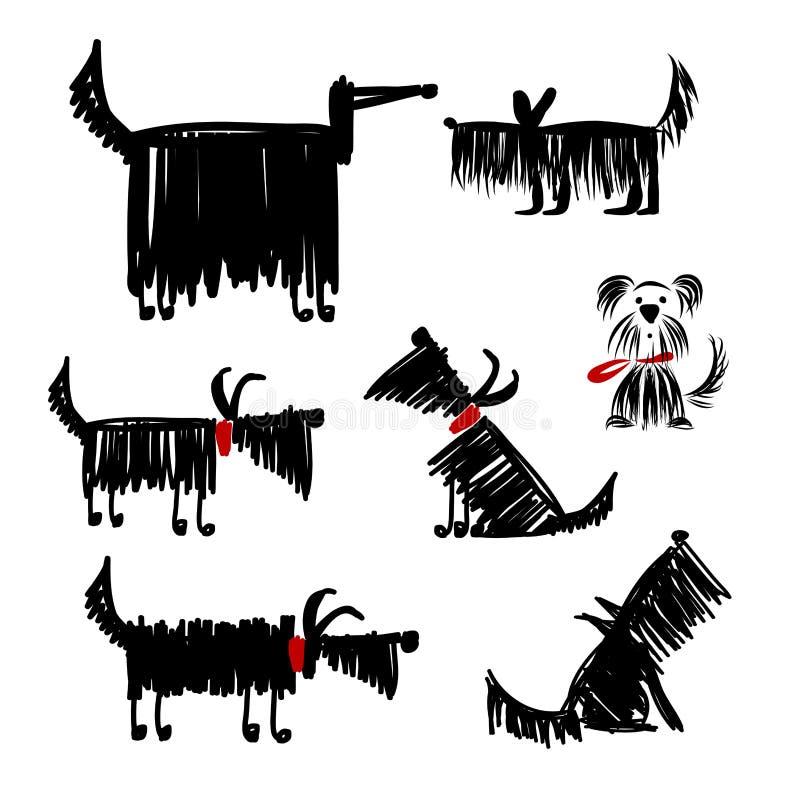 Αστεία μαύρη συλλογή σκυλιών για το σχέδιό σας απεικόνιση αποθεμάτων