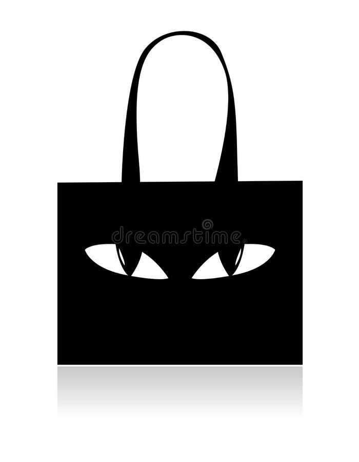 Αστεία μαύρη τσάντα αγορών με τα μάτια διανυσματική απεικόνιση