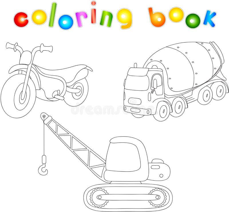 Αστεία μοτοσικλέτα κινούμενων σχεδίων, αναμίκτης τσιμέντου και γερανός γραφική απεικόνιση χρωματισμού βιβλίων ζωηρόχρωμη ελεύθερη απεικόνιση δικαιώματος