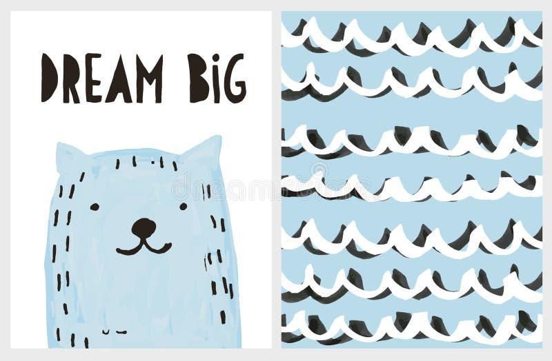 Αστεία μπλε συρμένη χέρι γάτα διανυσματικό Illustartion Μεγάλη αφίσα ονείρου διανυσματική απεικόνιση