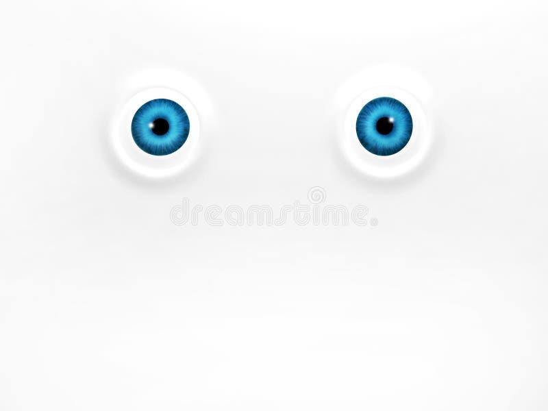 Αστεία μπλε μάτια στο άσπρο υπόβαθρο διανυσματική απεικόνιση