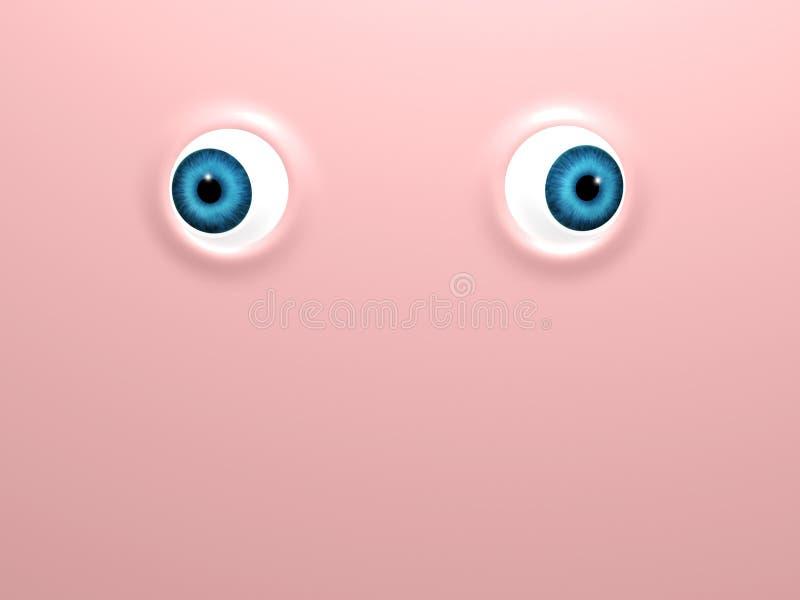 Αστεία μπλε μάτια στο ρόδινο υπόβαθρο διανυσματική απεικόνιση