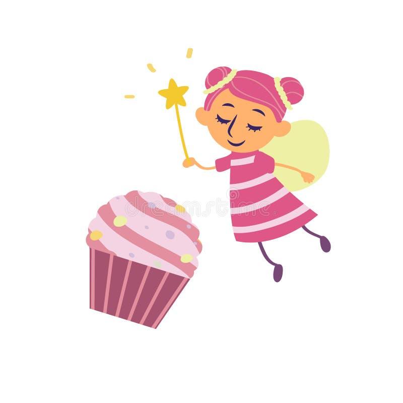 Αστεία νεράιδα και cupcake στο ύφος κινούμενων σχεδίων που απομονώνεται στο άσπρο υπόβαθρο διανυσματική απεικόνιση