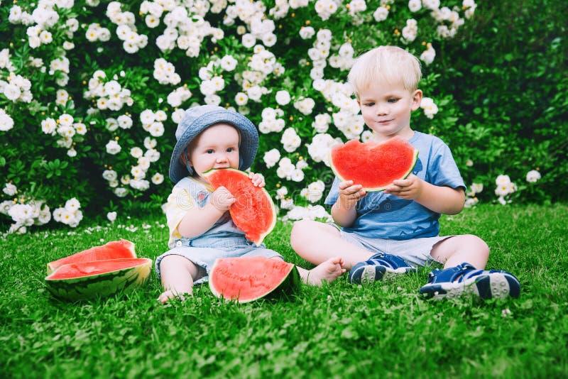 Αστεία παιδιά που τρώνε το καρπούζι στη φύση στο καλοκαίρι στοκ εικόνα με δικαίωμα ελεύθερης χρήσης