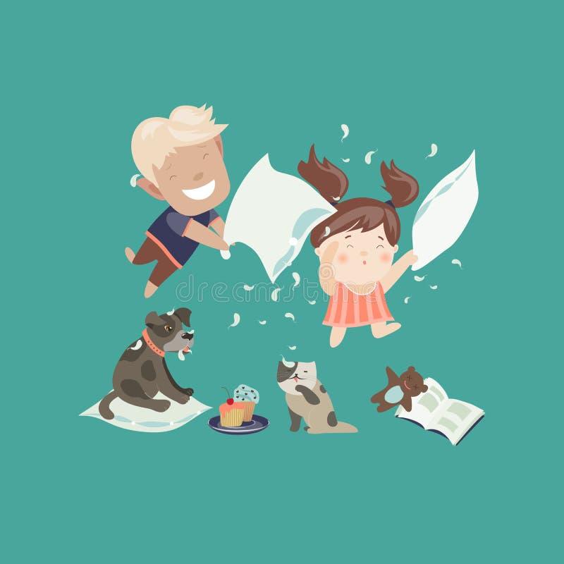 Αστεία παιδιά που έχουν μια πάλη μαξιλαριών διανυσματική απεικόνιση