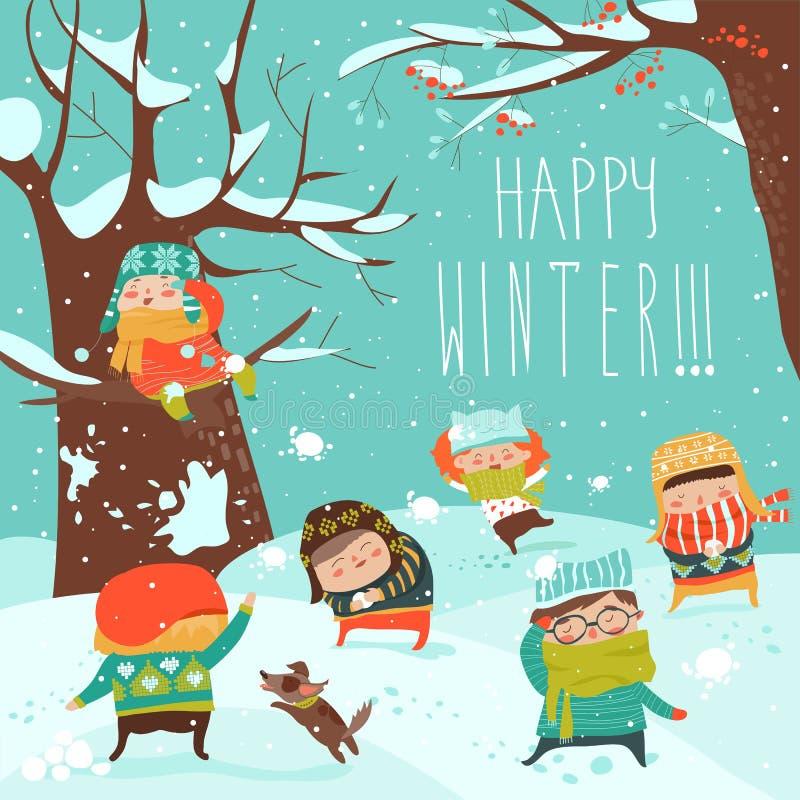 Αστεία παιδιά που παίζουν την πάλη χιονιών διανυσματική απεικόνιση