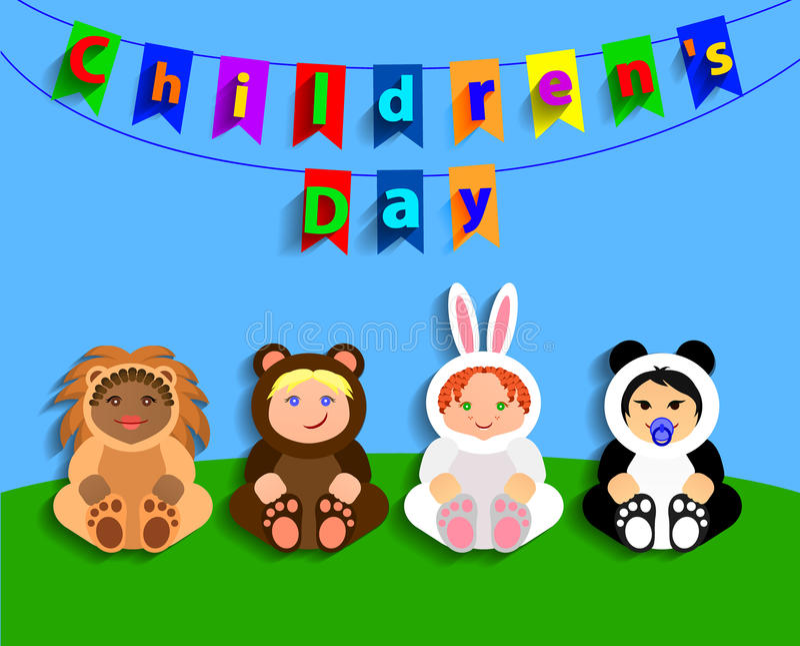 Αστεία παιδιά στα ζωικά κοστούμια Ημέρα των διεθνών παιδιών απεικόνιση αποθεμάτων