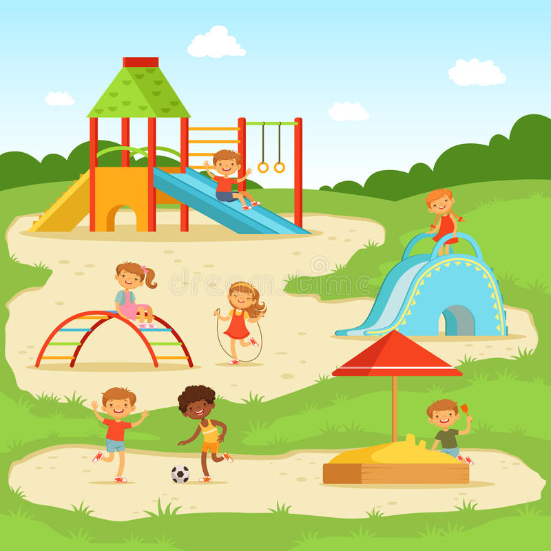 Αστεία παιδιά στη θερινή παιδική χαρά παιχνίδι πάρκων κατσικιών επίσης corel σύρετε το διάνυσμα απεικόνισης διανυσματική απεικόνιση
