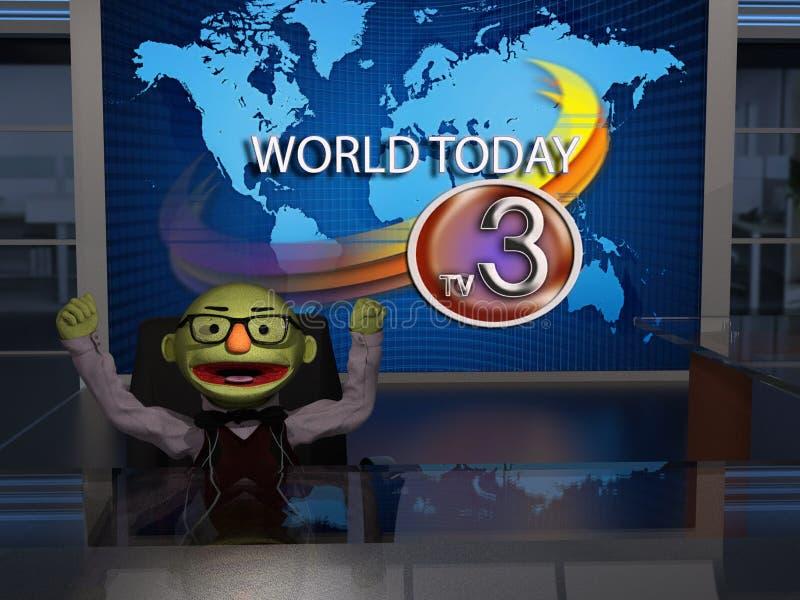 Αστεία πλαστή άγκυρα δικτύων ειδήσεων απεικόνιση αποθεμάτων