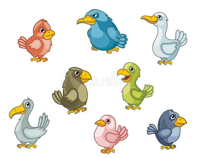 Αστεία πουλιά κινούμενων σχεδίων διανυσματική απεικόνιση