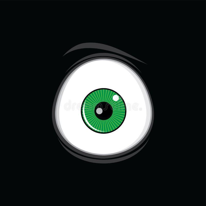Αστεία πράσινα μάτια κινούμενων σχεδίων για την τέχνη σχεδίου comics ελεύθερη απεικόνιση δικαιώματος