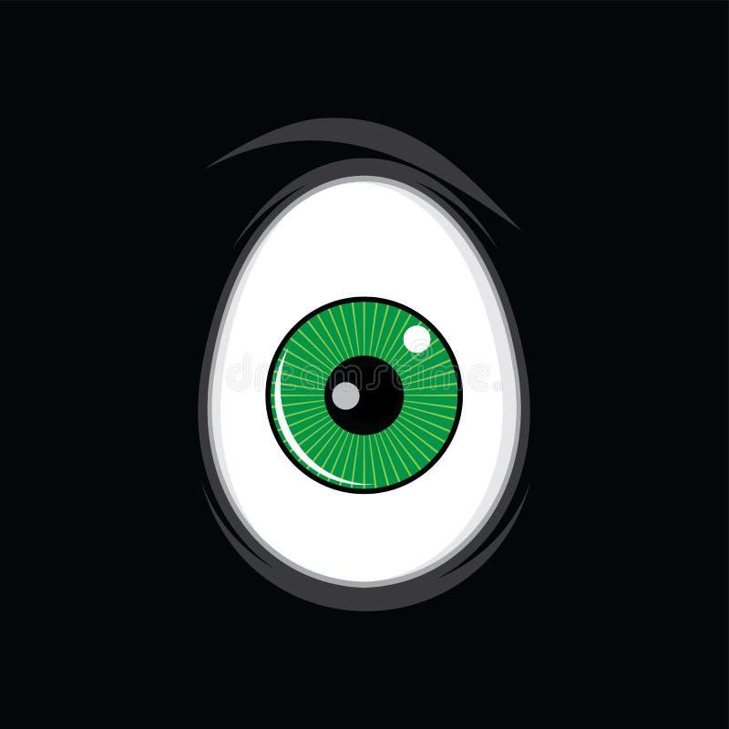 Αστεία πράσινα μάτια κινούμενων σχεδίων για την τέχνη σχεδίου comics απεικόνιση αποθεμάτων