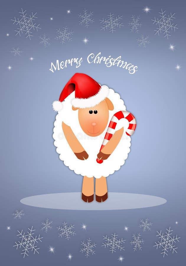 Αστεία πρόβατα για τα Χριστούγεννα απεικόνιση αποθεμάτων