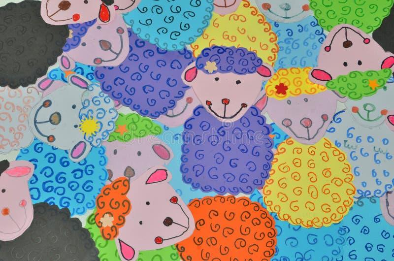 Αστεία πρόβατα εγγράφου χαμόγελου ζωηρόχρωμα στοκ φωτογραφία με δικαίωμα ελεύθερης χρήσης
