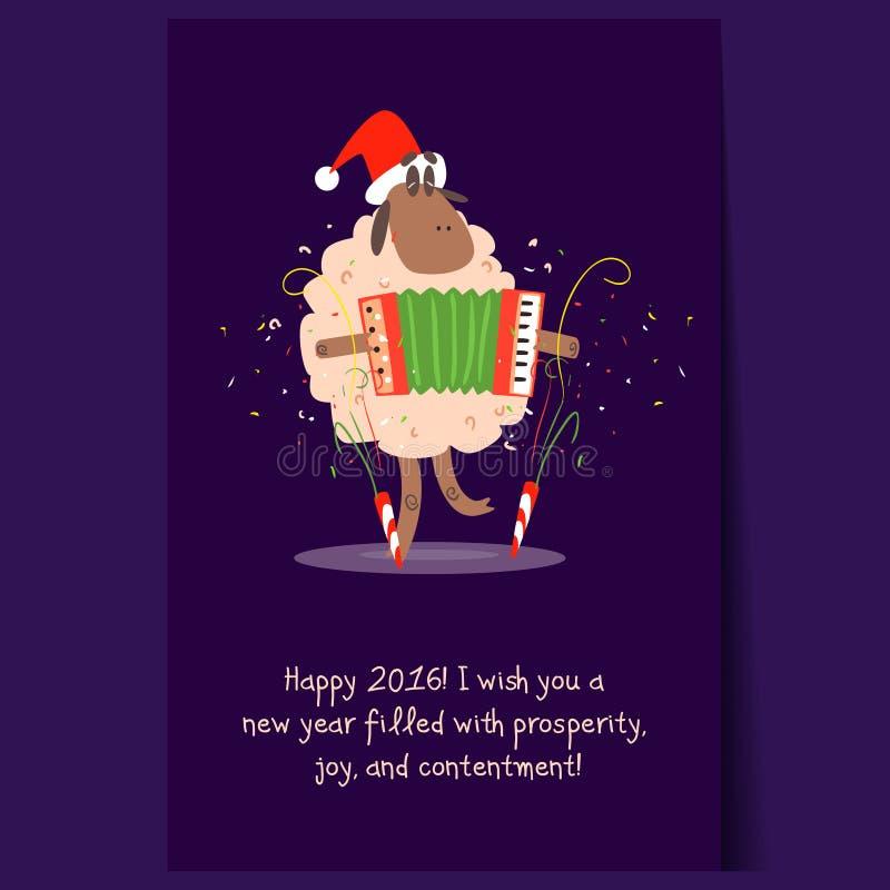 Αστεία πρόβατα κινούμενων σχεδίων με τη γιρλάντα Διανυσματικά Χριστούγεννα διανυσματική απεικόνιση